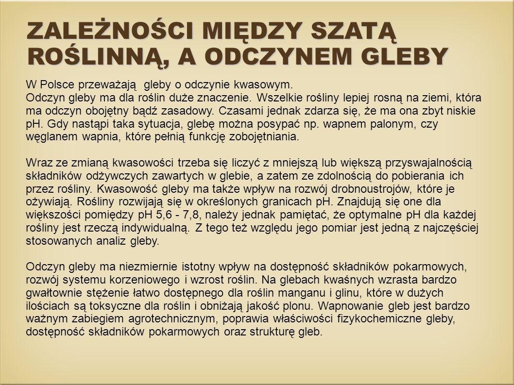 W Polsce przeważają gleby o odczynie kwasowym. Odczyn gleby ma dla roślin duże znaczenie. Wszelkie rośliny lepiej rosną na ziemi, która ma odczyn oboj