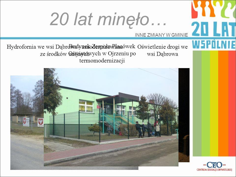 20 lat minęło… INNE ZMIANY W GMINIE Hydrofornia we wsi Dąbrowa - zmodernizowana ze środków unijnych Oświetlenie drogi we wsi Dąbrowa Budynek Zespołu P
