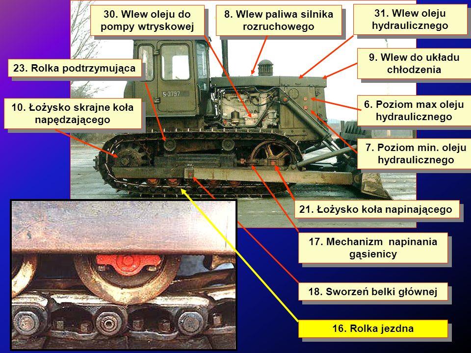 6.Poziom max oleju hydraulicznego 9. Wlew do układu chłodzenia 31.