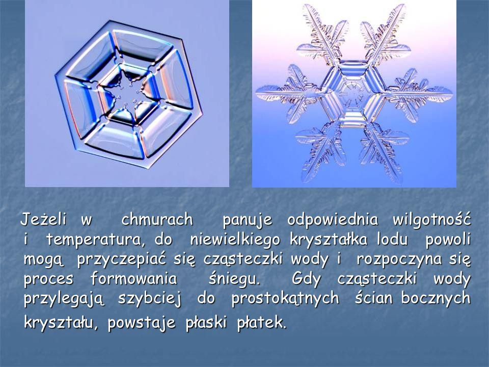 Jeżeli w chmurach panuje odpowiednia wilgotność i temperatura, do niewielkiego kryształka lodu powoli mogą przyczepiać się cząsteczki wody i rozpoczyn