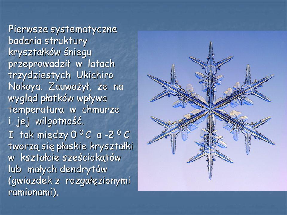 Pierwsze systematyczne badania struktury kryształków śniegu przeprowadził w latach trzydziestych Ukichiro Nakaya. Zauważył, że na wygląd płatków wpływ