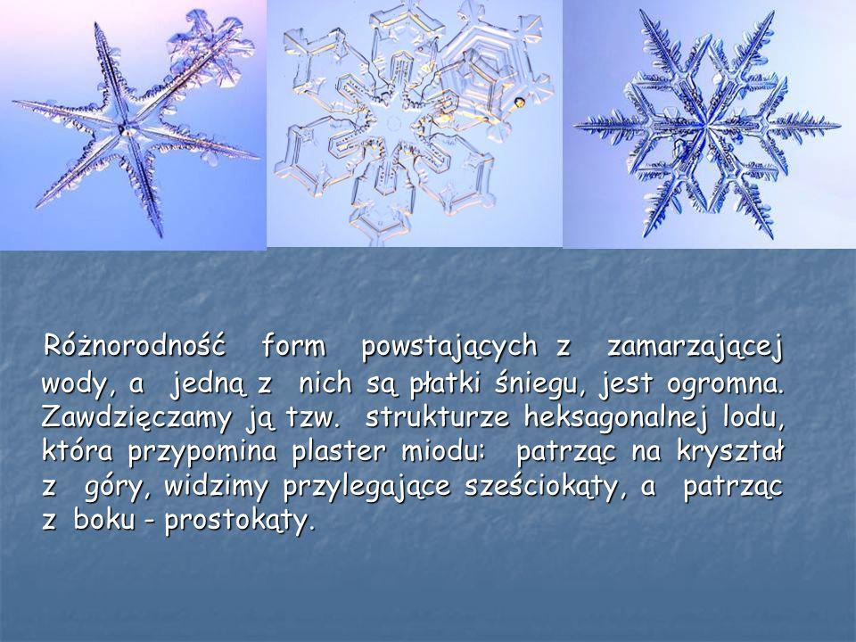 Różnorodność form powstających z zamarzającej wody, a jedną z nich są płatki śniegu, jest ogromna. Zawdzięczamy ją tzw. strukturze heksagonalnej lodu,