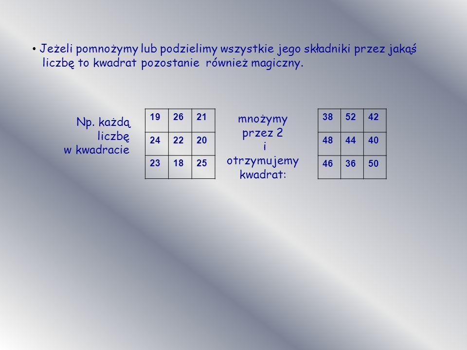 Jeżeli pomnożymy lub podzielimy wszystkie jego składniki przez jakąś liczbę to kwadrat pozostanie również magiczny. 385242 484440 463650 Np. każdą lic