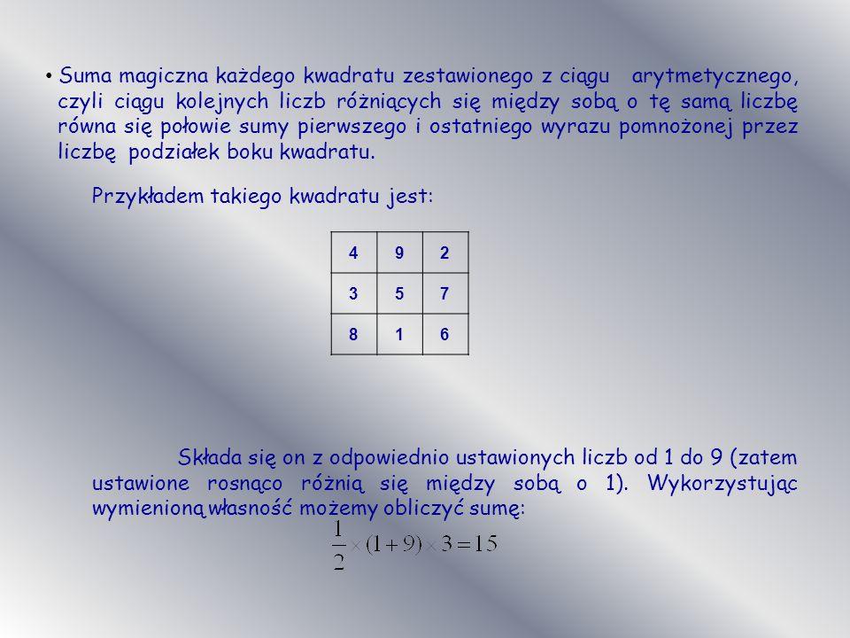Suma magiczna każdego kwadratu zestawionego z ciągu arytmetycznego, czyli ciągu kolejnych liczb różniących się między sobą o tę samą liczbę równa się połowie sumy pierwszego i ostatniego wyrazu pomnożonej przez liczbę podziałek boku kwadratu.