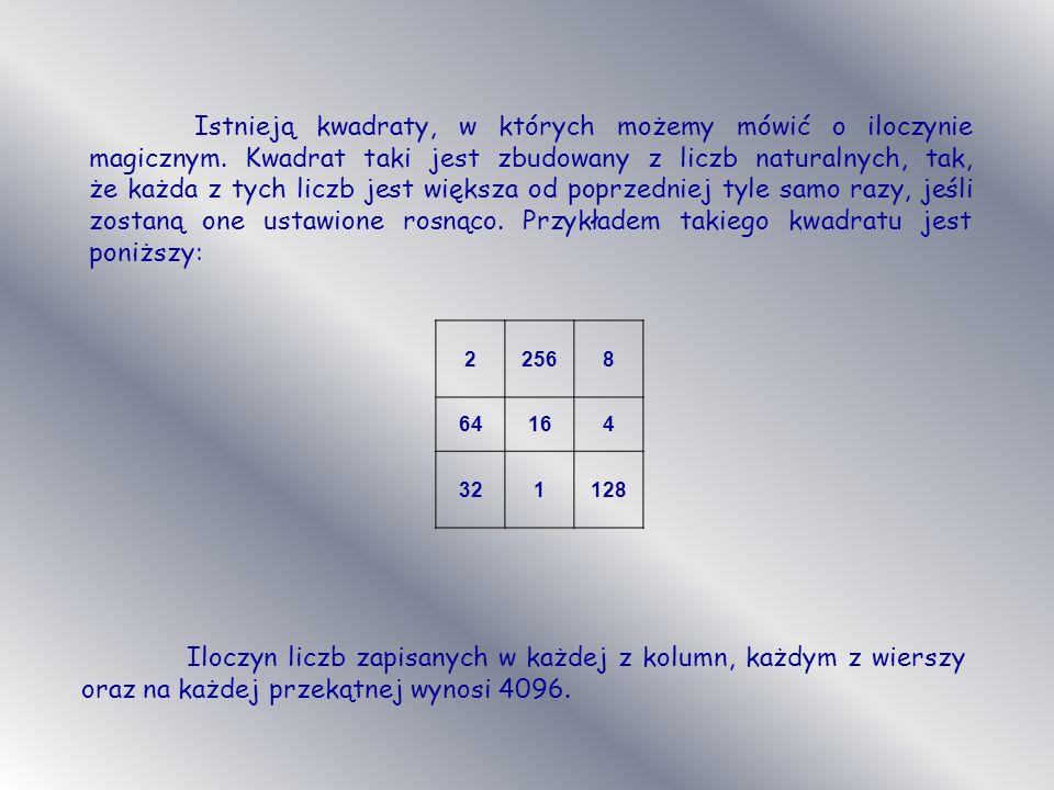 Istnieją kwadraty, w których możemy mówić o iloczynie magicznym. Kwadrat taki jest zbudowany z liczb naturalnych, tak, że każda z tych liczb jest więk