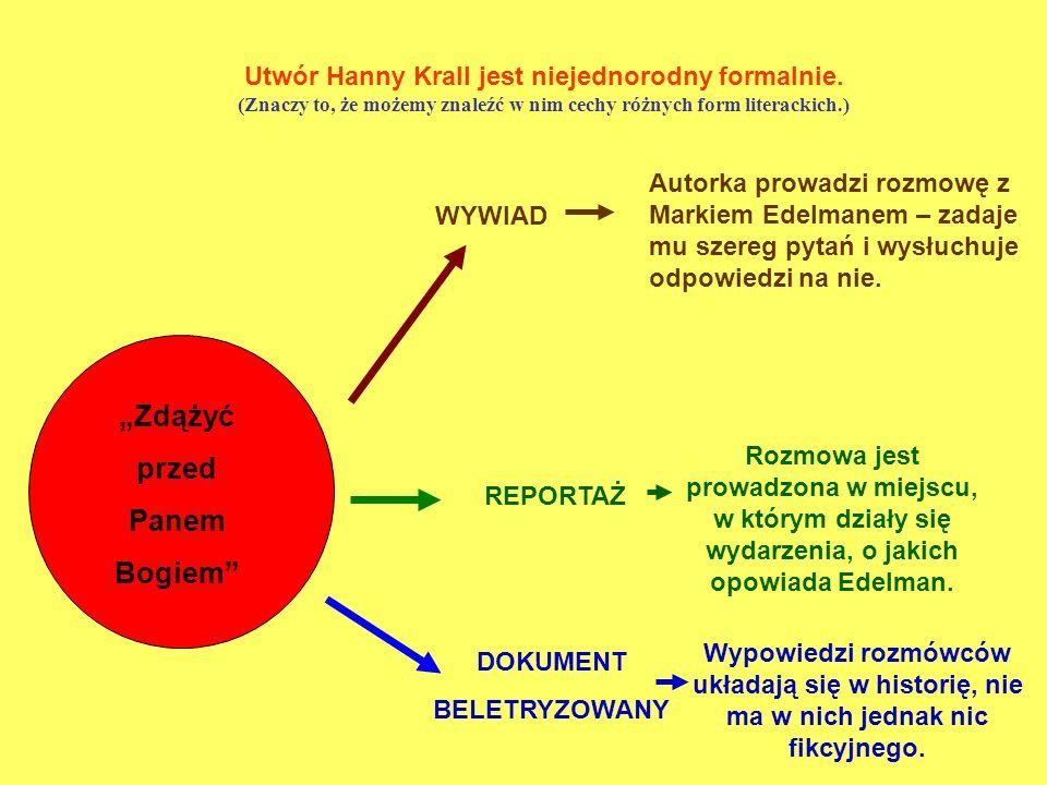 Utwór Hanny Krall jest niejednorodny formalnie. (Znaczy to, że możemy znaleźć w nim cechy różnych form literackich.) Zdążyć przed Panem Bogiem REPORTA