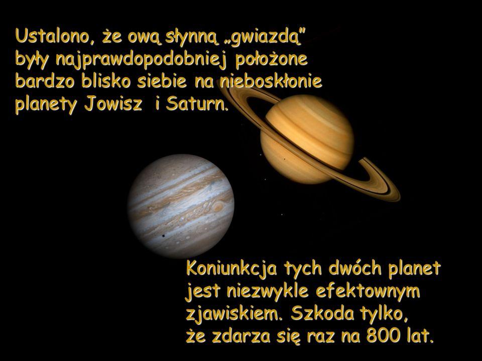 Ustawienie planet przy obserwacji zjawiska koniunkcji Jowisza i Saturna.