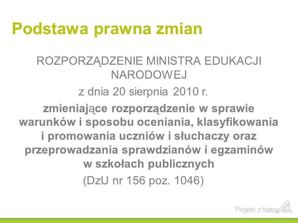 Podstawa prawna zmian ROZPORZĄDZENIE MINISTRA EDUKACJI NARODOWEJ z dnia 20 sierpnia 2010 r. zmieniające rozporządzenie w sprawie warunków i sposobu oc