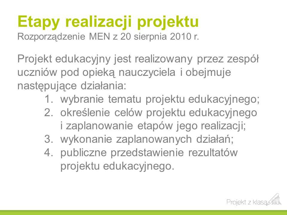 Etapy realizacji projektu Rozporządzenie MEN z 20 sierpnia 2010 r. Projekt edukacyjny jest realizowany przez zespół uczniów pod opieką nauczyciela i o