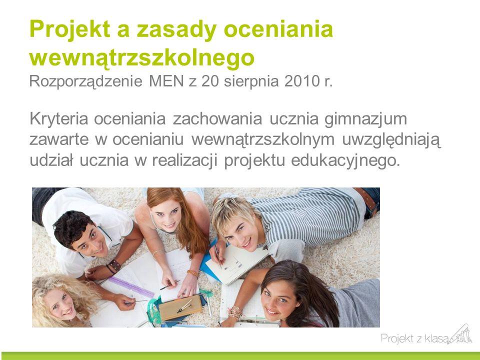 Projekt a zasady oceniania wewnątrzszkolnego Rozporządzenie MEN z 20 sierpnia 2010 r. Kryteria oceniania zachowania ucznia gimnazjum zawarte w ocenian