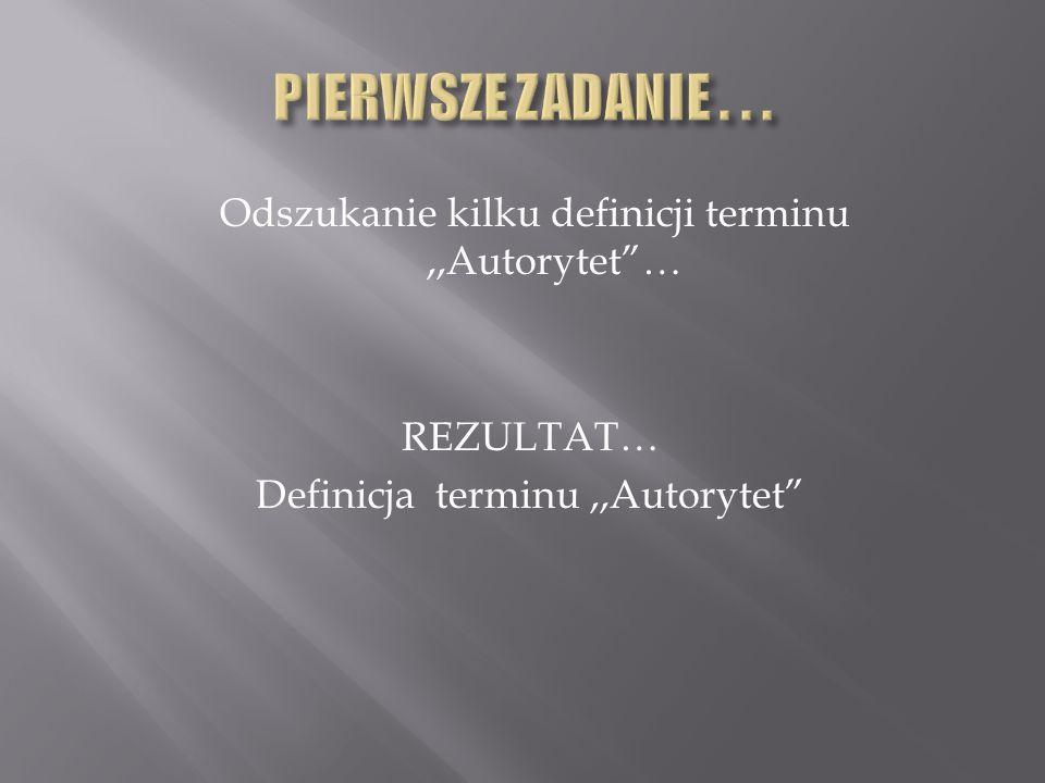 Odszukanie kilku definicji terminu,,Autorytet… REZULTAT… Definicja terminu,,Autorytet