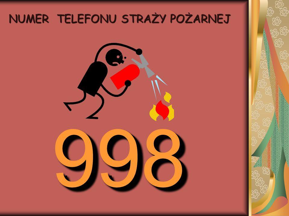 998 998 NUMER TELEFONU STRAŻY POŻARNEJ