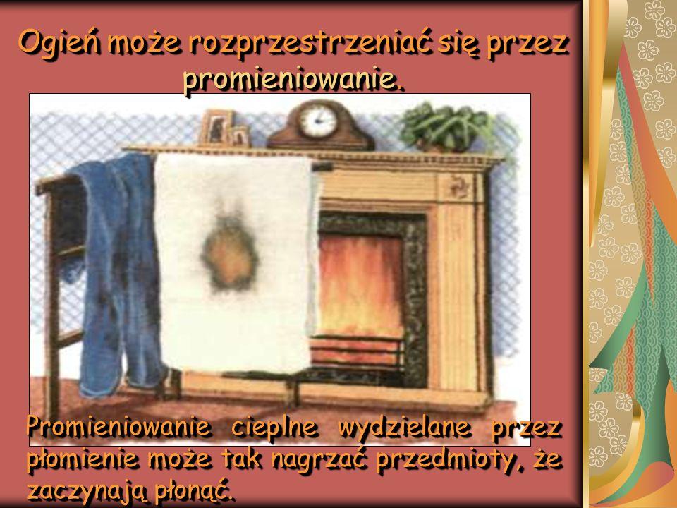 Promieniowanie cieplne wydzielane przez płomienie może tak nagrzać przedmioty, że zaczynają płonąć. Ogień może rozprzestrzeniać się przez promieniowan
