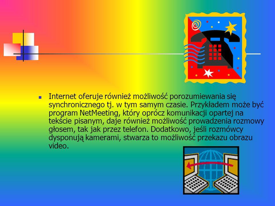 Internet oferuje również możliwość porozumiewania się synchronicznego tj. w tym samym czasie. Przykładem może być program NetMeeting, który oprócz kom