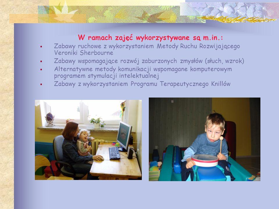 W ramach zajęć wykorzystywane są m.in.: Zabawy ruchowe z wykorzystaniem Metody Ruchu Rozwijającego Veroniki Sherbourne Zabawy wspomagające rozwój zabu