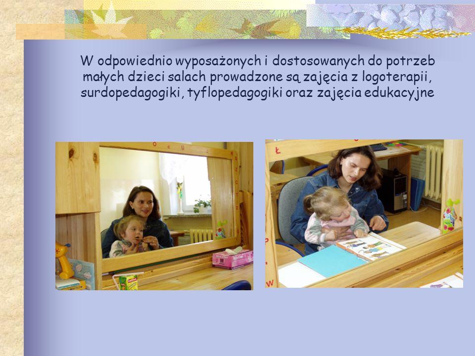 W odpowiednio wyposażonych i dostosowanych do potrzeb małych dzieci salach prowadzone są zajęcia z logoterapii, surdopedagogiki, tyflopedagogiki oraz