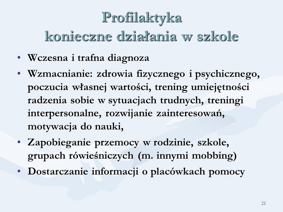 21 Profilaktyka konieczne działania w szkole Wczesna i trafna diagnozaWczesna i trafna diagnoza Wzmacnianie: zdrowia fizycznego i psychicznego, poczuc