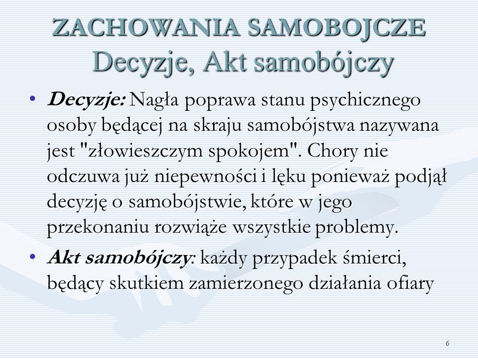 27 DZIAŁANIA INTERWENCYJNE Szkoła powinna mieć opracowane procedury na wypadek usiłowania lub dokonania samobójstwa na terenie szkoły, jak informować personel szkolny szczególnie nauczycieli a także innych uczniów i rodziców Wskazówki: ZAPOBIEGANIE SAMOBÓJSTWOM poradnik dla nauczycieli i innych pracowników szkoły; Światowa Organizacja Zdrowia, Towarzystwo Suicydologiczne, Genewa-Warszawa 2003, www.ipin.egu.pl/towsuicyd
