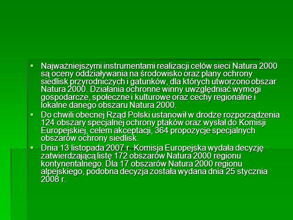 Najważniejszymi instrumentami realizacji celów sieci Natura 2000 są oceny oddziaływania na środowisko oraz plany ochrony siedlisk przyrodniczych i gatunków, dla których utworzono obszar Natura 2000.