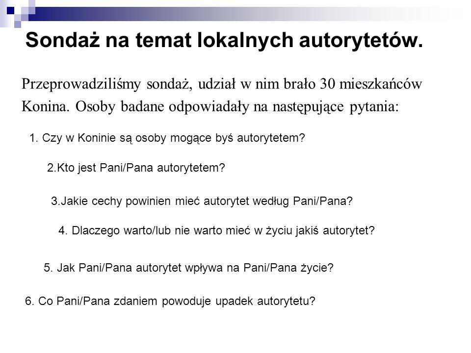 Sondaż na temat lokalnych autorytetów.1. Czy w Koninie są osoby mogące byś autorytetem.