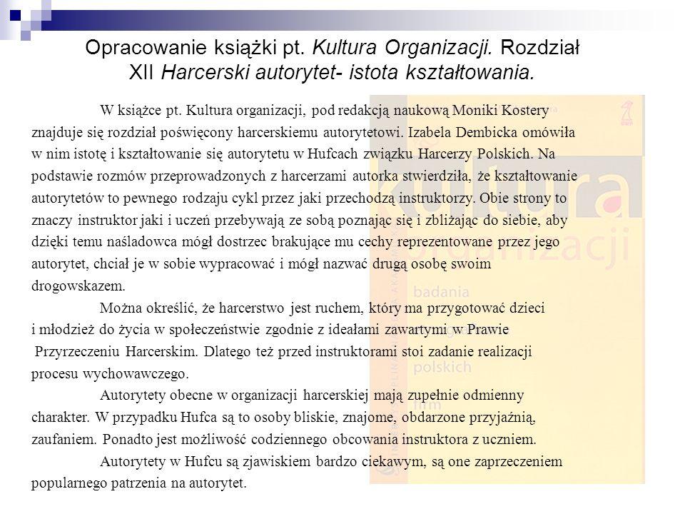 Opracowanie książki pt.Kultura Organizacji.