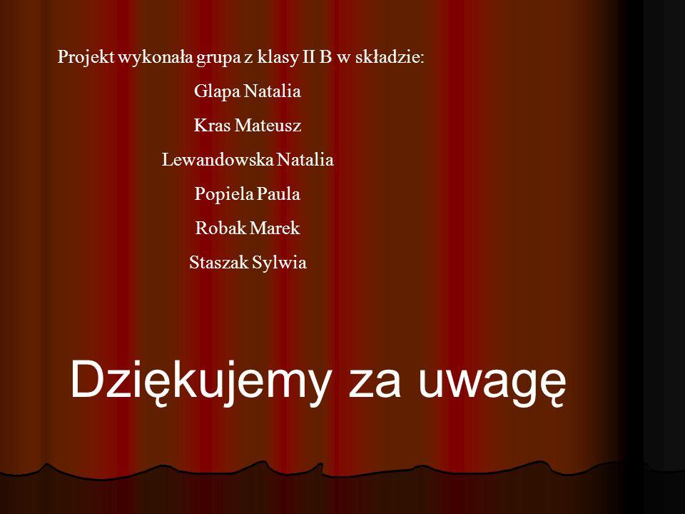 Projekt wykonała grupa z klasy II B w składzie: Glapa Natalia Kras Mateusz Lewandowska Natalia Popiela Paula Robak Marek Staszak Sylwia Dziękujemy za uwagę