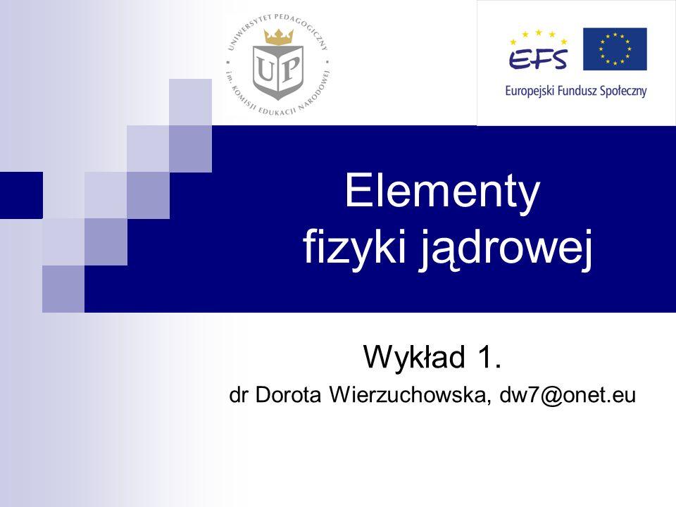 Elementy fizyki jądrowej Wykład 1. dr Dorota Wierzuchowska, dw7@onet.eu