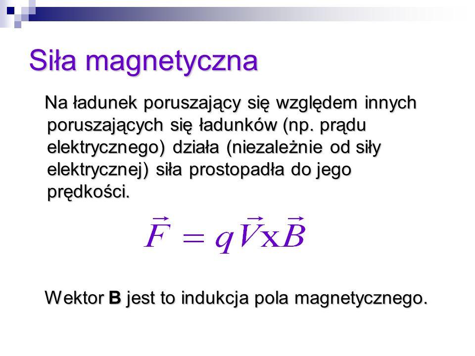 Siła magnetyczna Na ładunek poruszający się względem innych poruszających się ładunków (np. prądu elektrycznego) działa (niezależnie od siły elektrycz