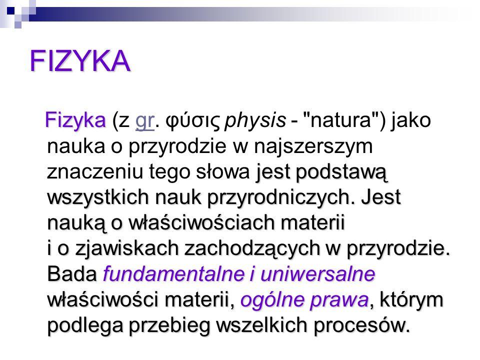 FIZYKA Fizyka jest podstawą wszystkich nauk przyrodniczych. Jest nauką o właściwościach materii i o zjawiskach zachodzących w przyrodzie. Bada fundame