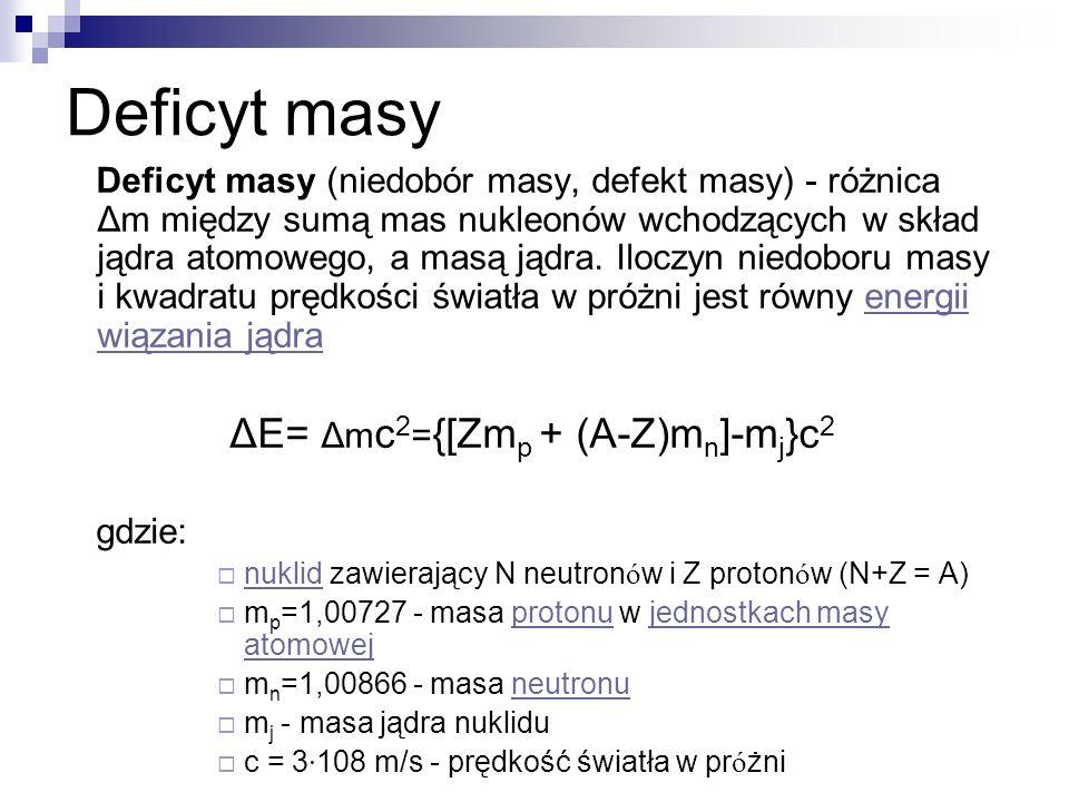 Deficyt masy Deficyt masy (niedobór masy, defekt masy) - różnica Δm między sumą mas nukleonów wchodzących w skład jądra atomowego, a masą jądra. Ilocz