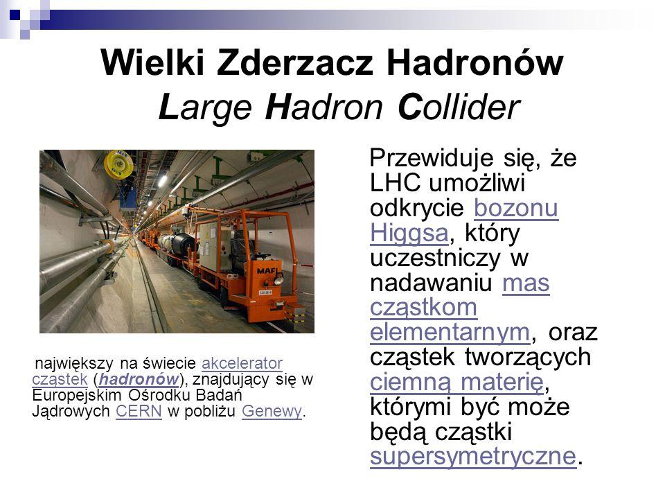 Wielki Zderzacz Hadronów Large Hadron Collider największy na świecie akcelerator cząstek (hadronów), znajdujący się w Europejskim Ośrodku Badań Jądrow