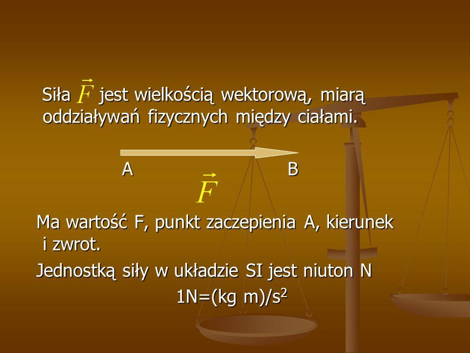 Siła jest wielkością wektorową, miarą oddziaływań fizycznych między ciałami. Siła jest wielkością wektorową, miarą oddziaływań fizycznych między ciała