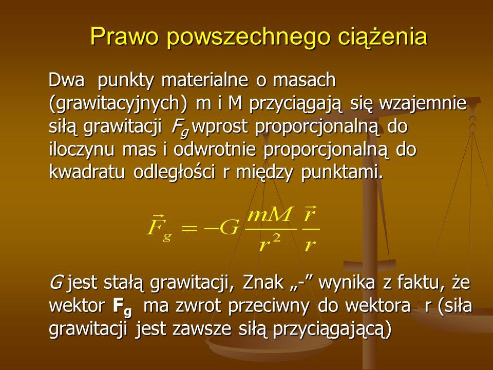 Prawo powszechnego ciążenia Dwa punkty materialne o masach (grawitacyjnych) m i M przyciągają się wzajemnie siłą grawitacji F g wprost proporcjonalną