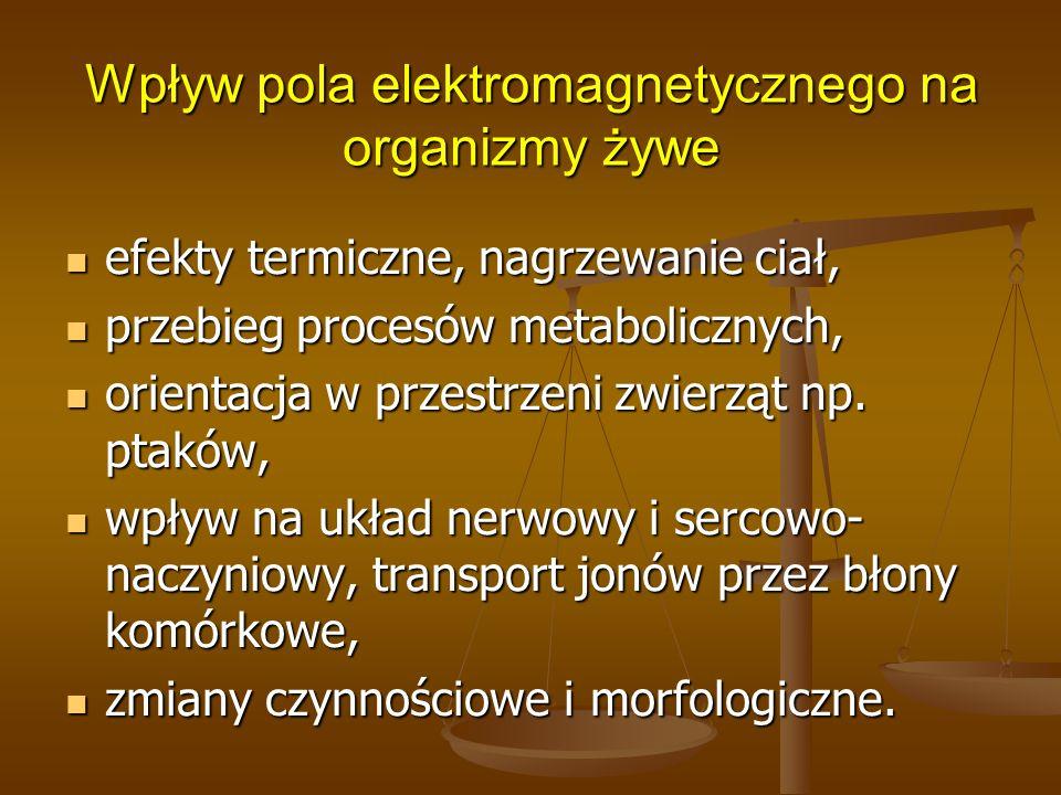 Wpływ pola elektromagnetycznego na organizmy żywe efekty termiczne, nagrzewanie ciał, efekty termiczne, nagrzewanie ciał, przebieg procesów metabolicz