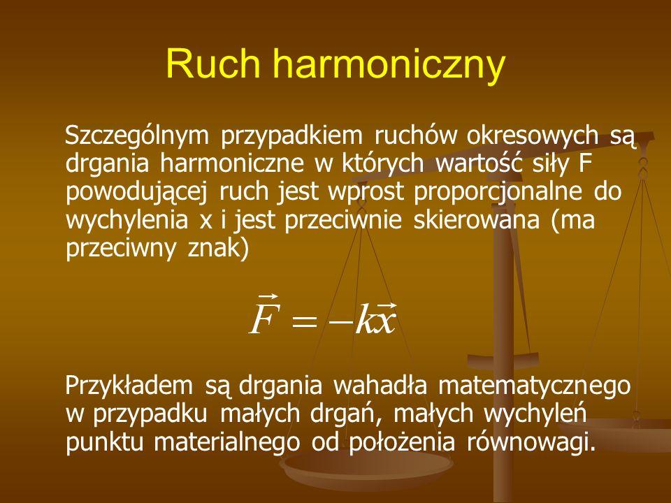 Ruch harmoniczny Szczególnym przypadkiem ruchów okresowych są drgania harmoniczne w których wartość siły F powodującej ruch jest wprost proporcjonalne