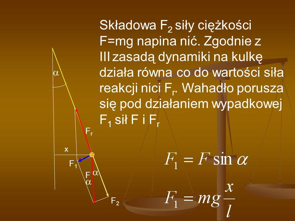 F x F1F1 FrFr F2F2 Składowa F 2 siły ciężkości F=mg napina nić. Zgodnie z III zasadą dynamiki na kulkę działa równa co do wartości siła reakcji nici F