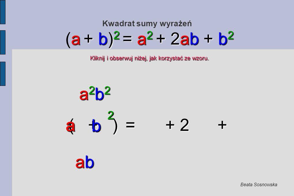 Kwadrat sumy wyrażeń + ) = + 2 + ( + ) = + 2 + a + b) 2 = a 2 + 2ab + b 2 (a + b) 2 = a 2 + 2ab + b 2 Kliknij i obserwuj niżej, jak korzystać ze wzoru