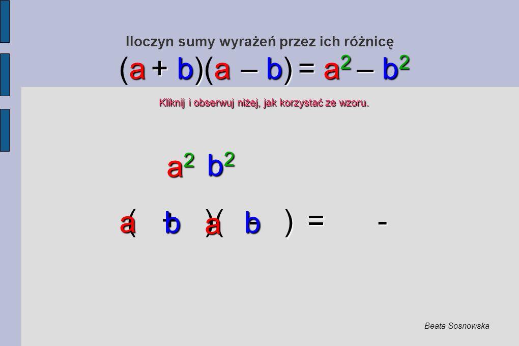 Iloczyn sumy wyrażeń przez ich różnicę ) = - ( + )( - ) = - a + b)a – b) = a 2 – b 2 (a + b)(a – b) = a 2 – b 2 Kliknij i obserwuj niżej, jak korzystać ze wzoru.