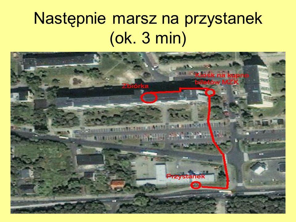 Następnie marsz na przystanek (ok. 3 min)