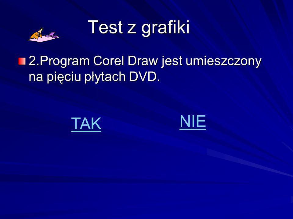 Test z grafiki 2.Program Corel Draw jest umieszczony na pięciu płytach DVD. TAK NIE