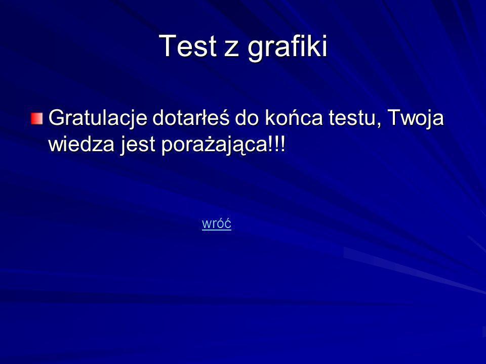 Test z grafiki Gratulacje dotarłeś do końca testu, Twoja wiedza jest porażająca!!! wróć