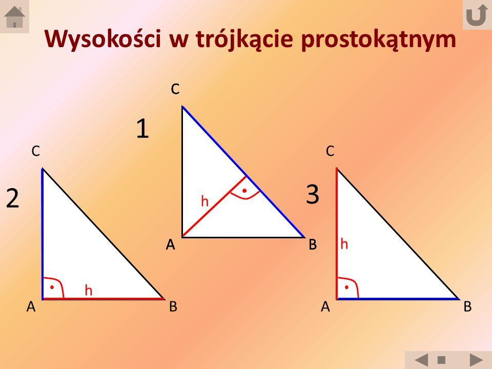 A C B Wysokości w trójkącie prostokątnym A C BA C BA C BA C B h h h 1 2 3