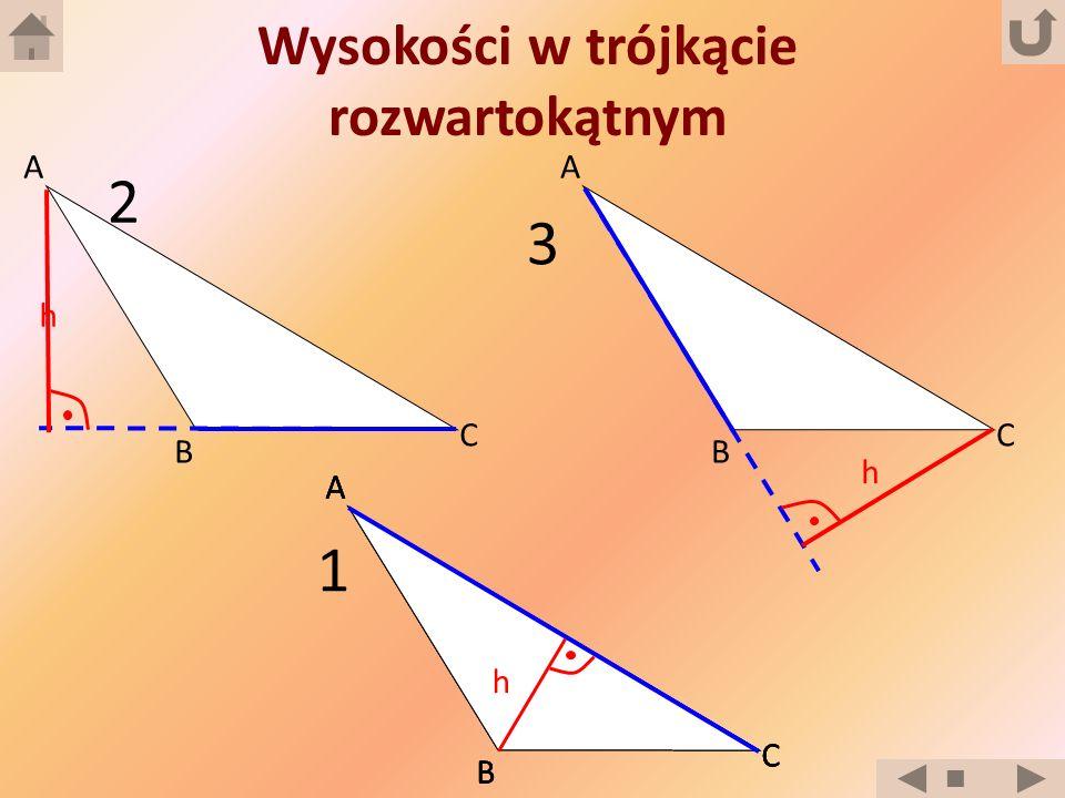 Wysokości w trójkącie rozwartokątnym B A C B A C B A C B A C B A C 1 h 2 3 h h