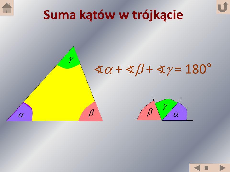 + + = 180° Suma kątów w trójkącie