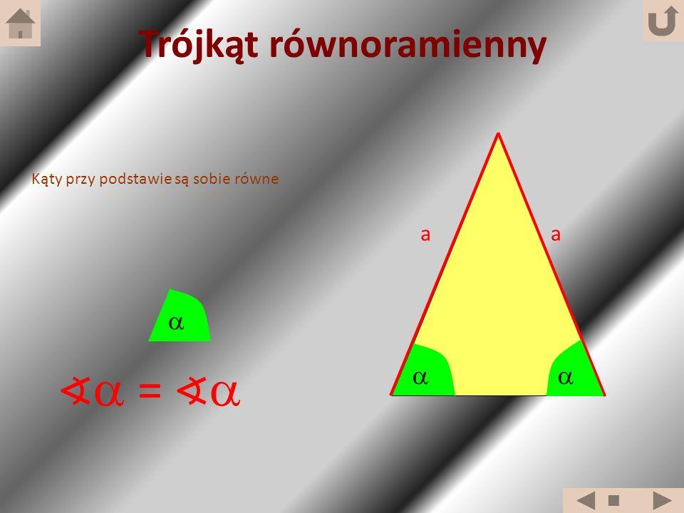 Kąty przy podstawie są sobie równe = Trójkąt równoramienny aa