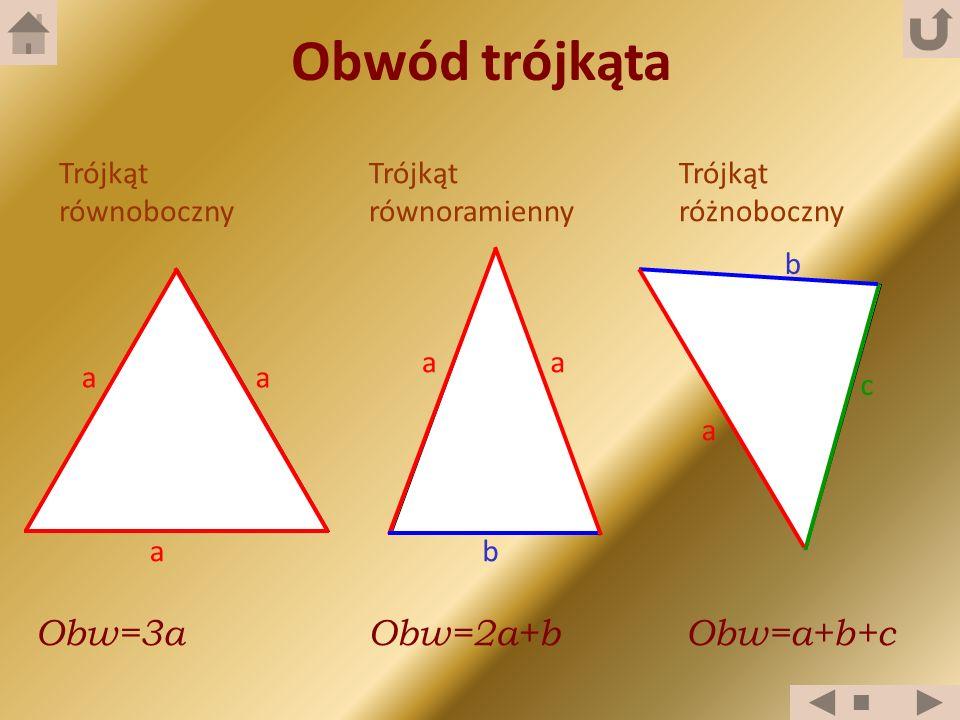Trójkąt równoboczny Trójkąt równoramienny Trójkąt różnoboczny a a a a aa b c Obwód trójkąta b Obw=3aObw=2a+bObw=a+b+c