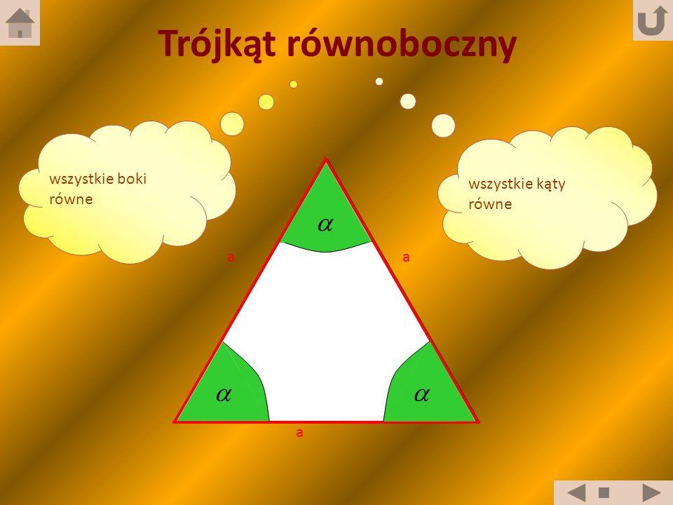 wszystkie kąty równe wszystkie boki równe a a a Trójkąt równoboczny