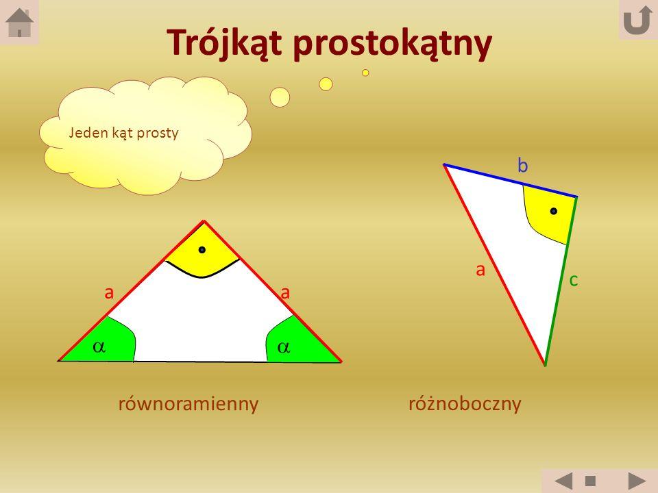 Trójkąt prostokątny Jeden kąt prosty równoramienny aa a b c różnoboczny