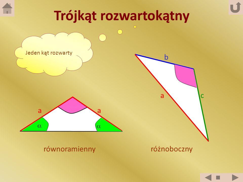 Trójkąt rozwartokątny Jeden kąt rozwarty równoramienny różnoboczny a b c aa