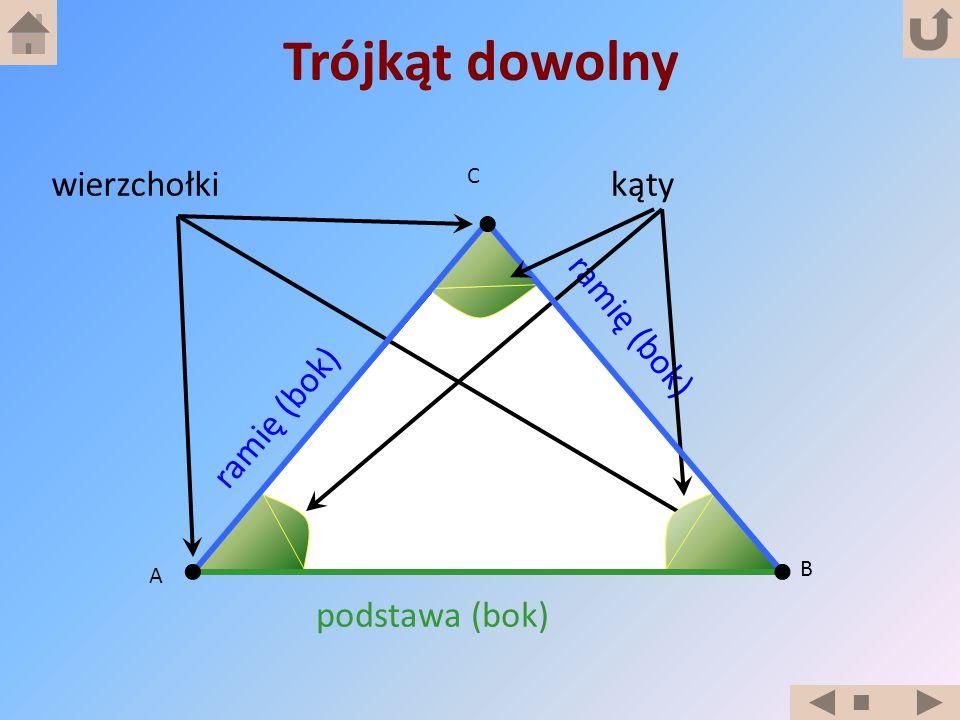 A B C ramię (bok) podstawa (bok) ramię (bok) wierzchołkikąty Trójkąt dowolny